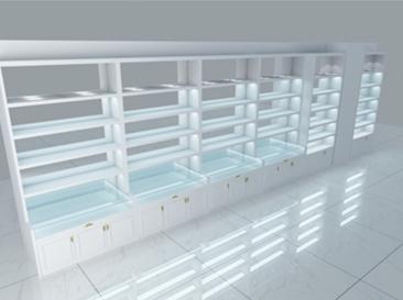 纯白玻璃展示柜